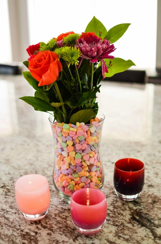 Conversation Hearts as Vase Filler - Valentine's Day