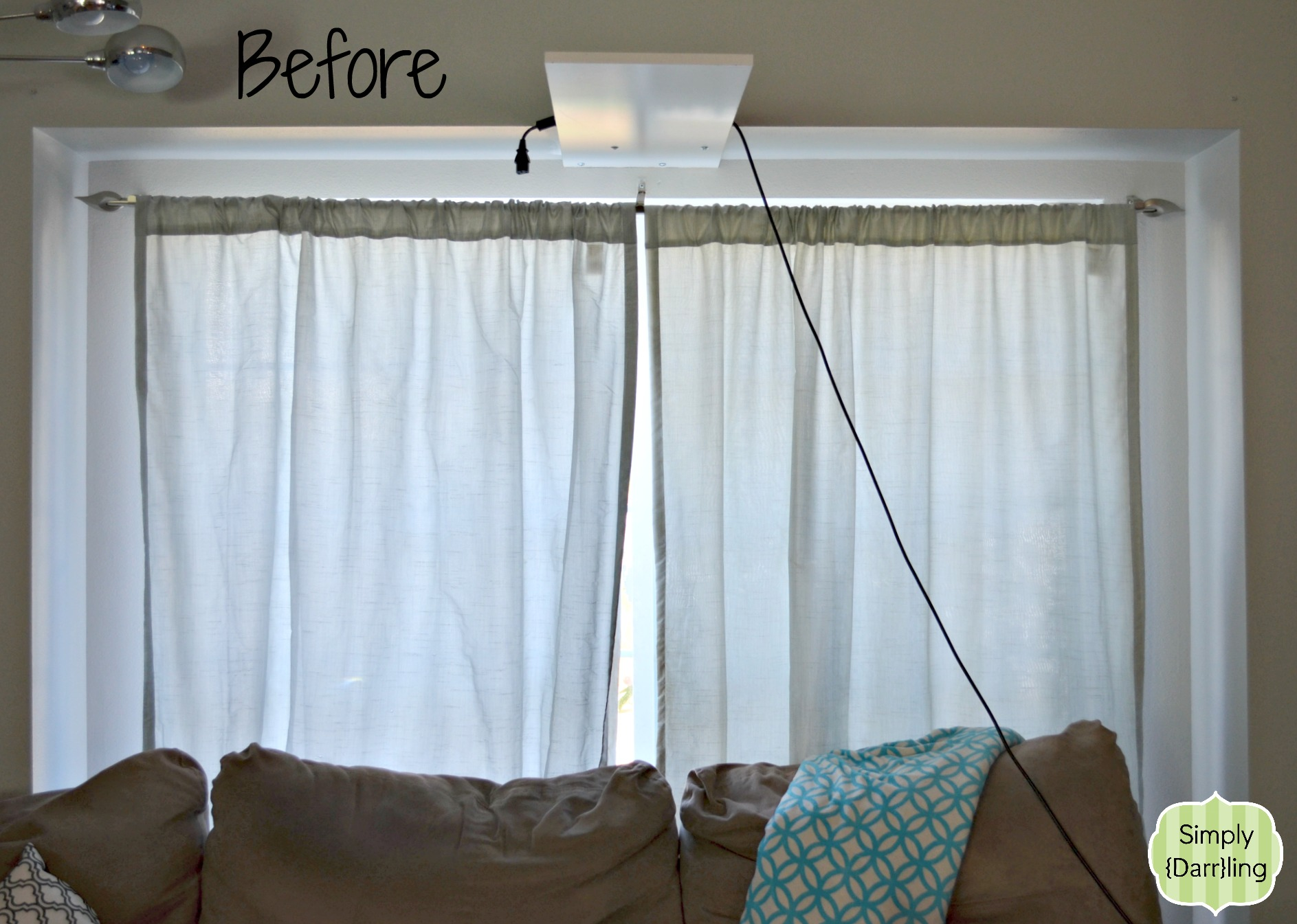 Easy diy curtains simply darr ling for Simple window treatments for large windows