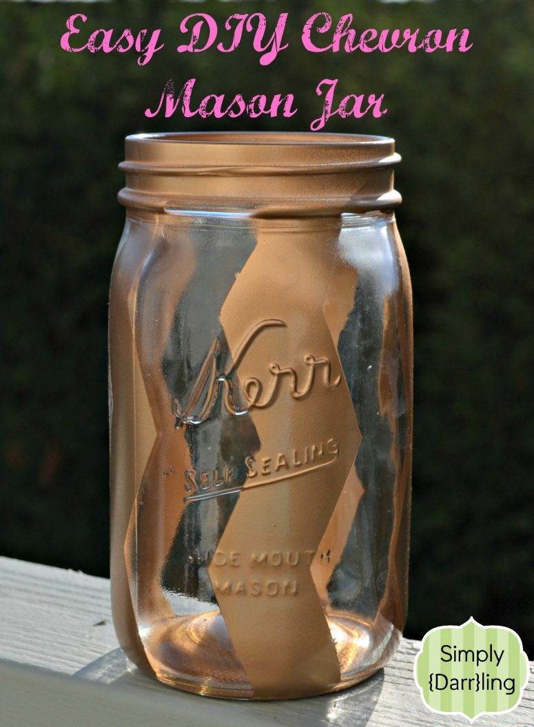 Mason Jar with Gold Chevron