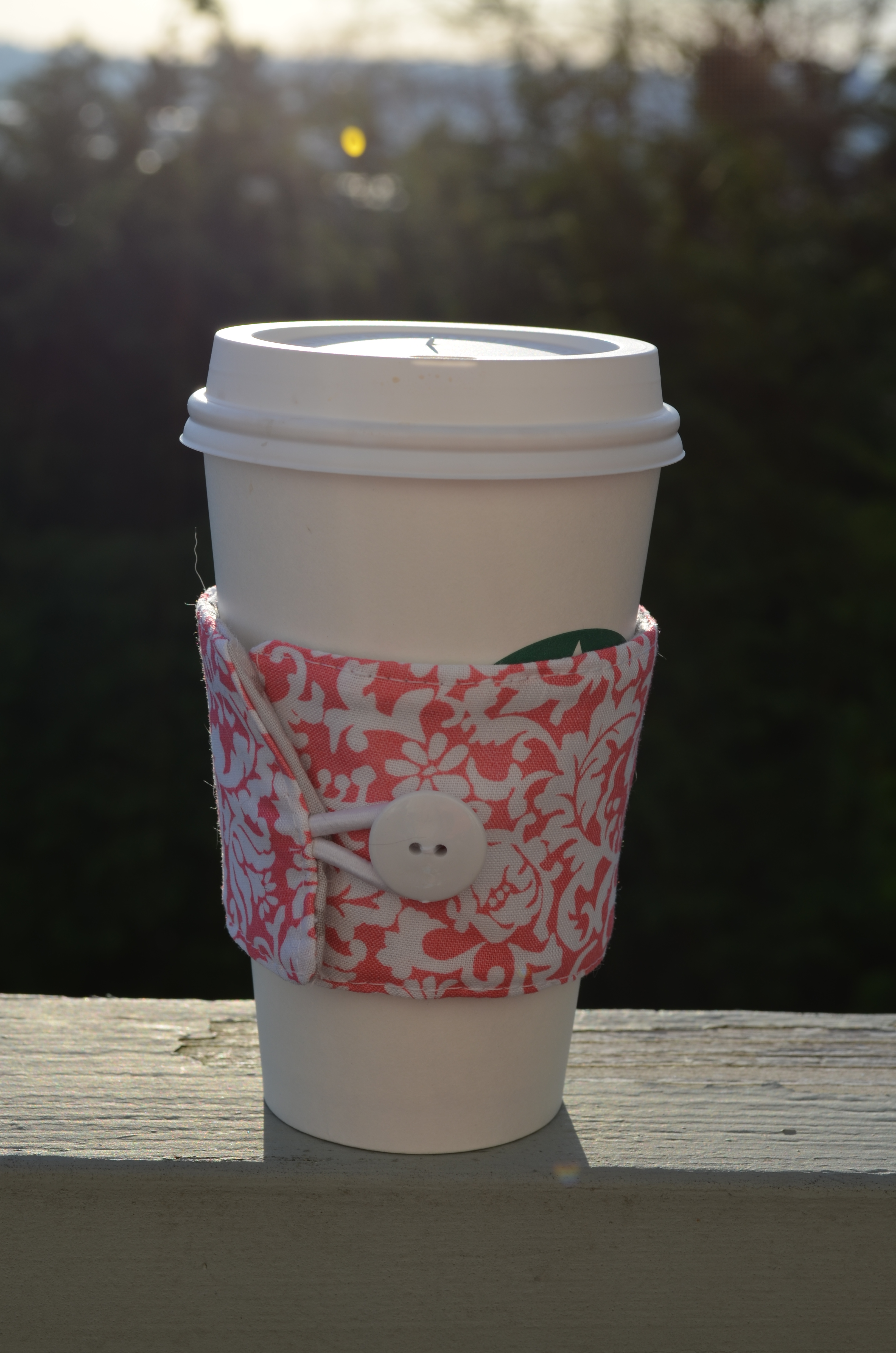 Pink and White Damask Coffee Cozy