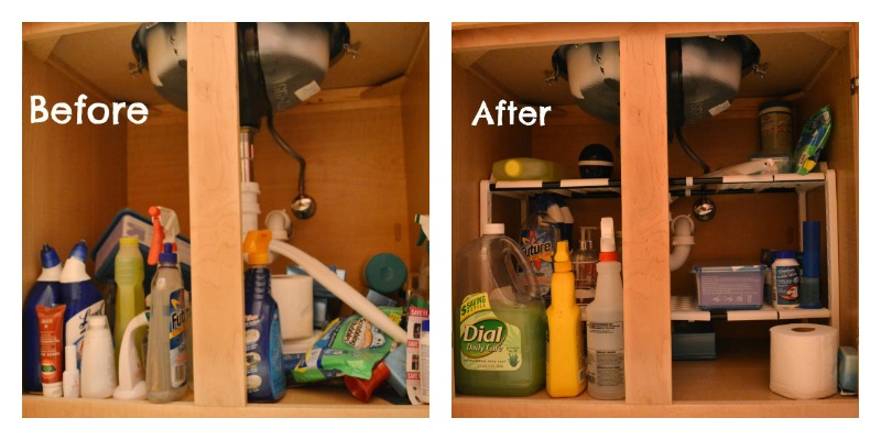 Before and After Under The Sink Organization