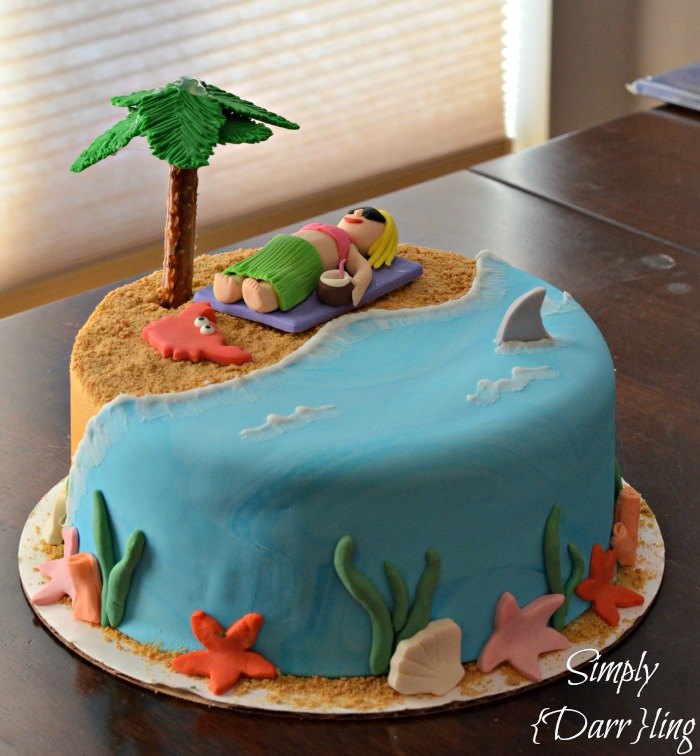 beach cake with palm tree, sea life and girl