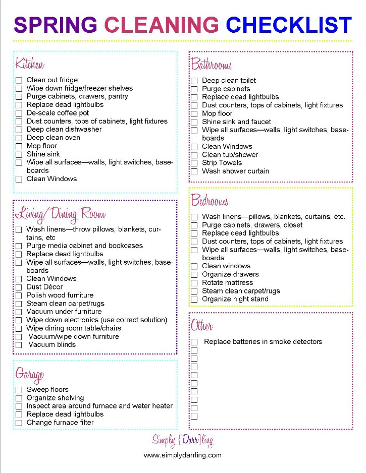 Spring Cleaning Checklist - Simply {Darr}Ling