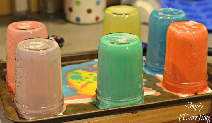 Tinted Mason Jars in Process