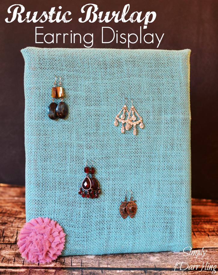 rustic burlap earring display