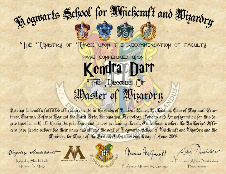 Harry Potter Hogwarts Diploma