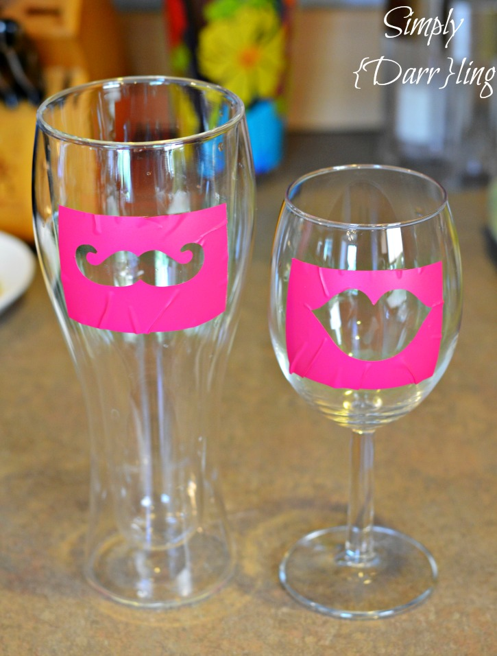 Stencil on glasses