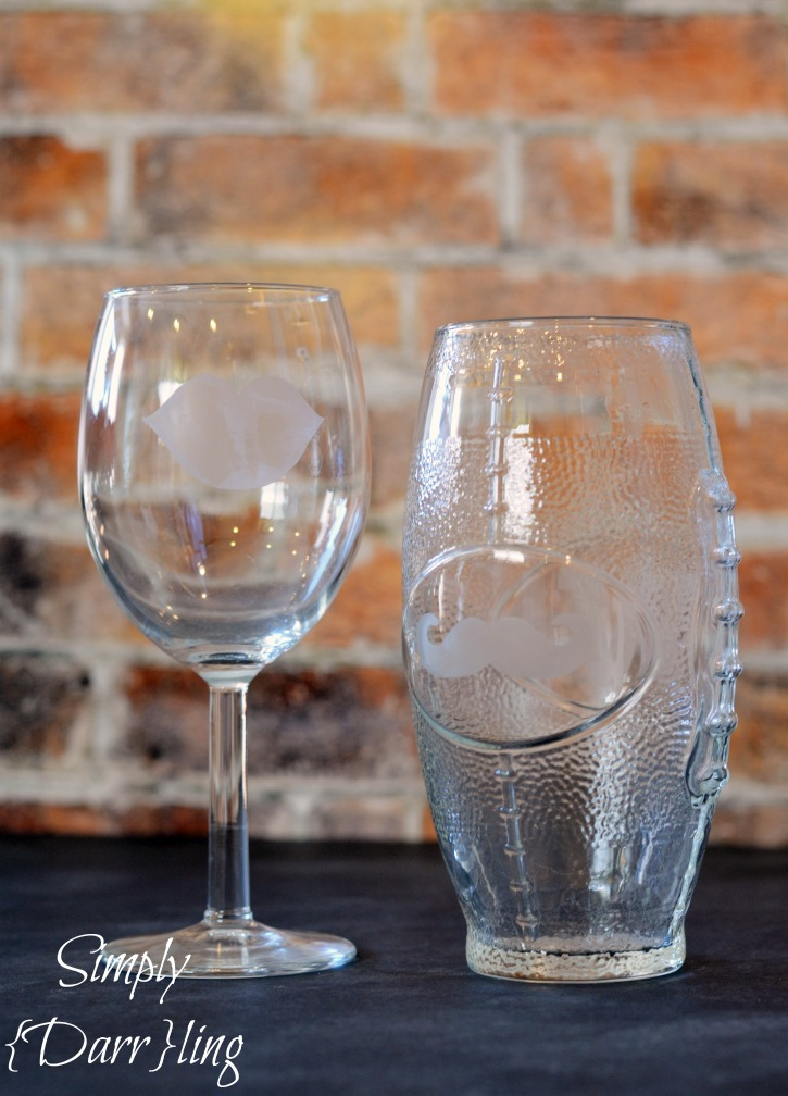 Lips Mustache Etched Glasses