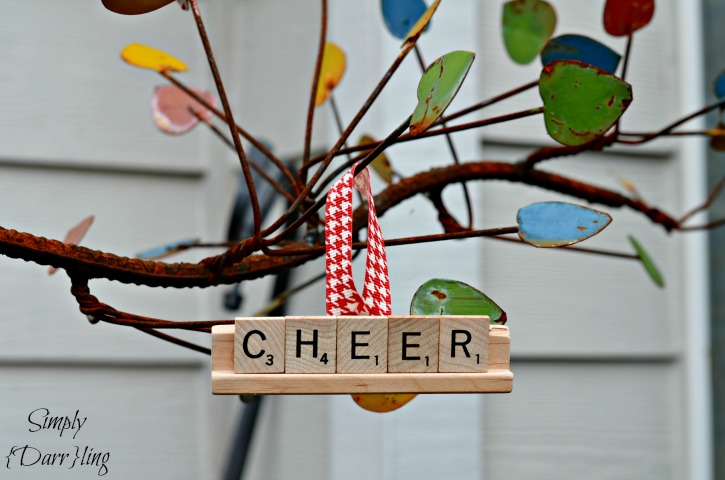 DIY Scrabble Tile Ornaments, shared by Simply Darrling at The Clever Chicks Blog Hop
