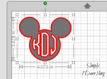Cut out Mickey Ears with Monogram