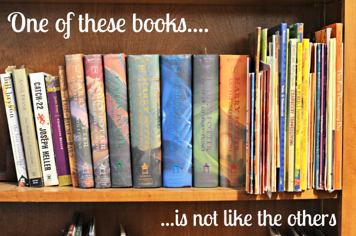 Harry Potter books on bookshelf