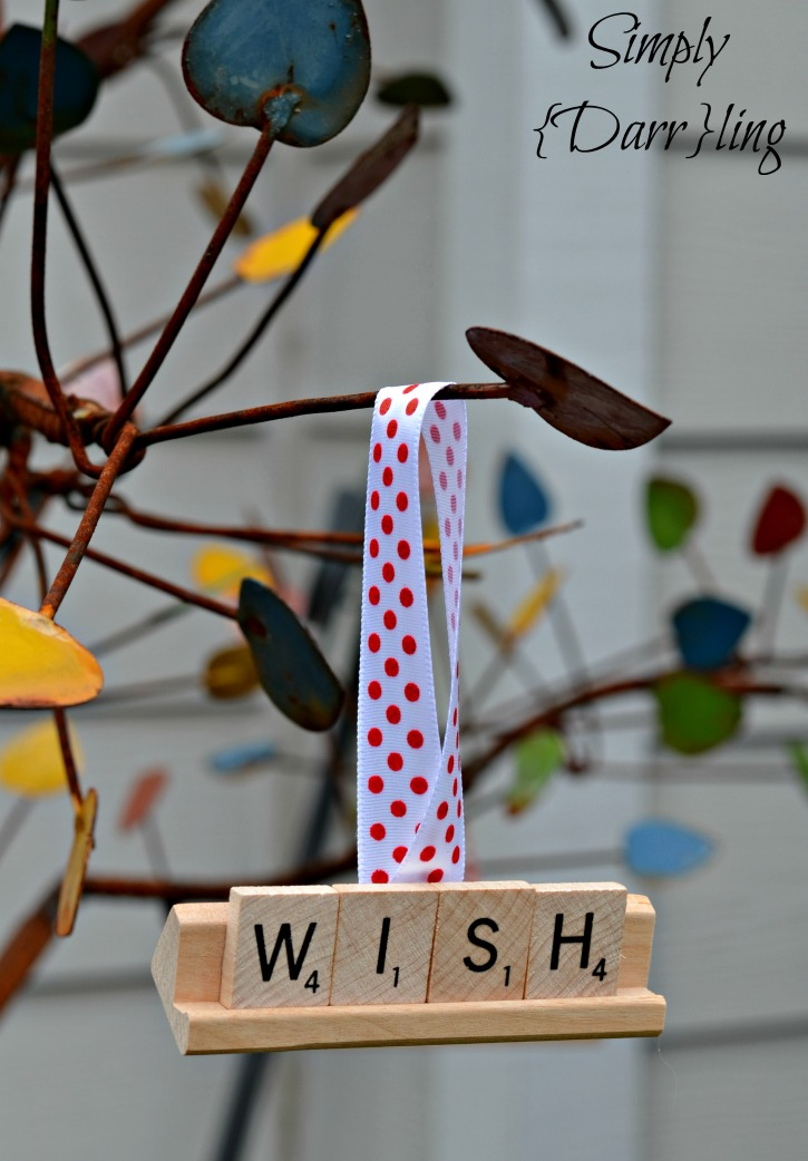 Scrabble Tile Christmas Ornament Wish