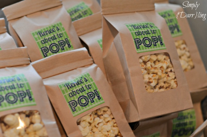 Popcorn for baby shower favors