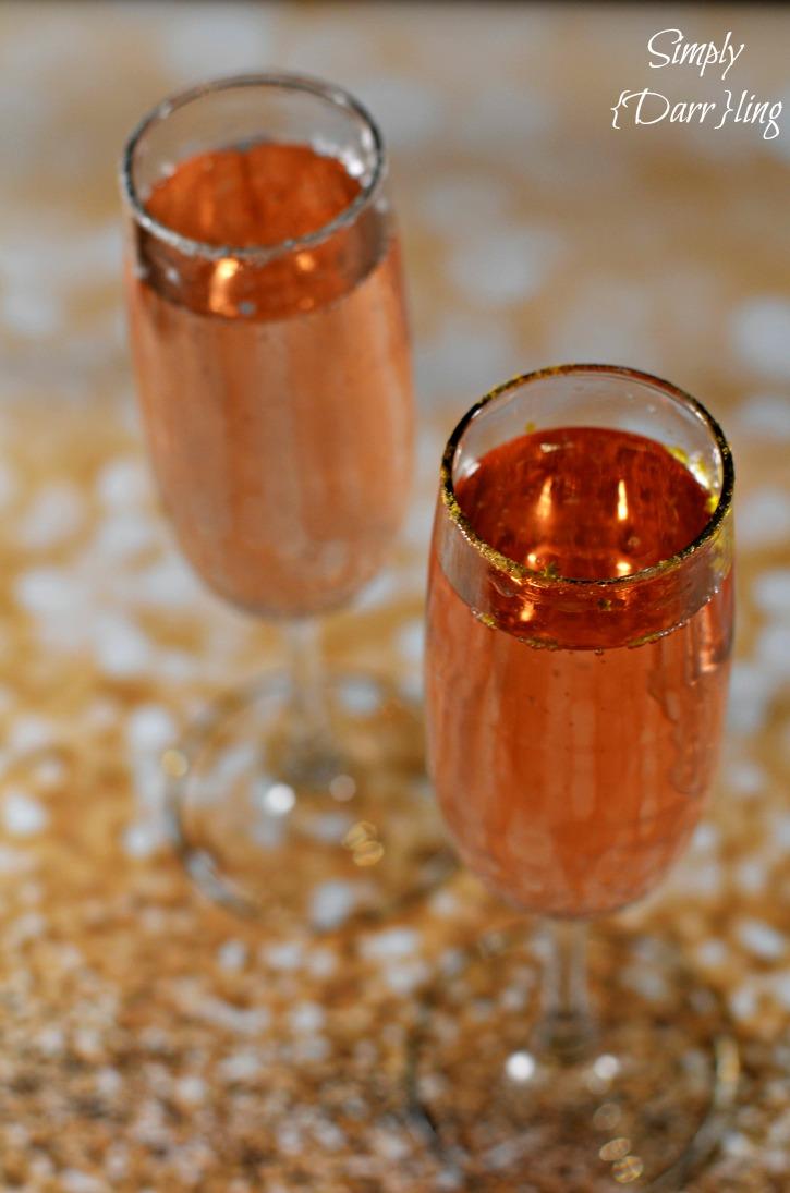Glittered rim champagne cocktail