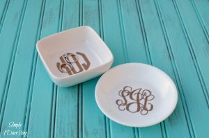 Gold Glitter Monogram Ring Dish