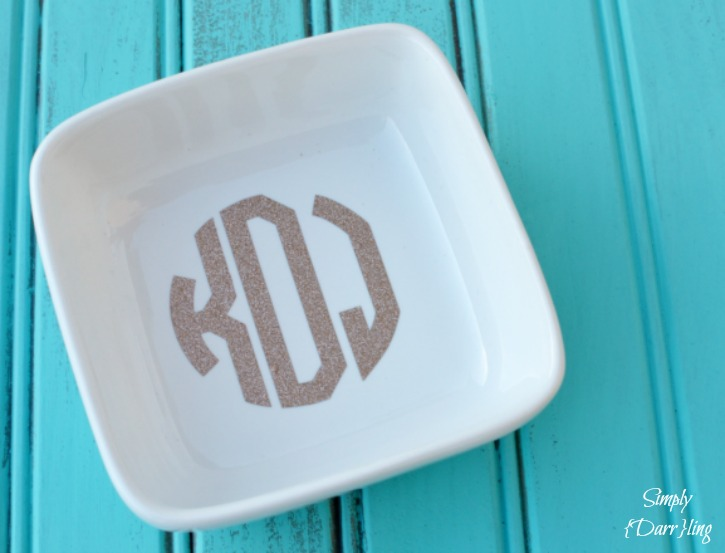 Glitter Monogram Ring Dish