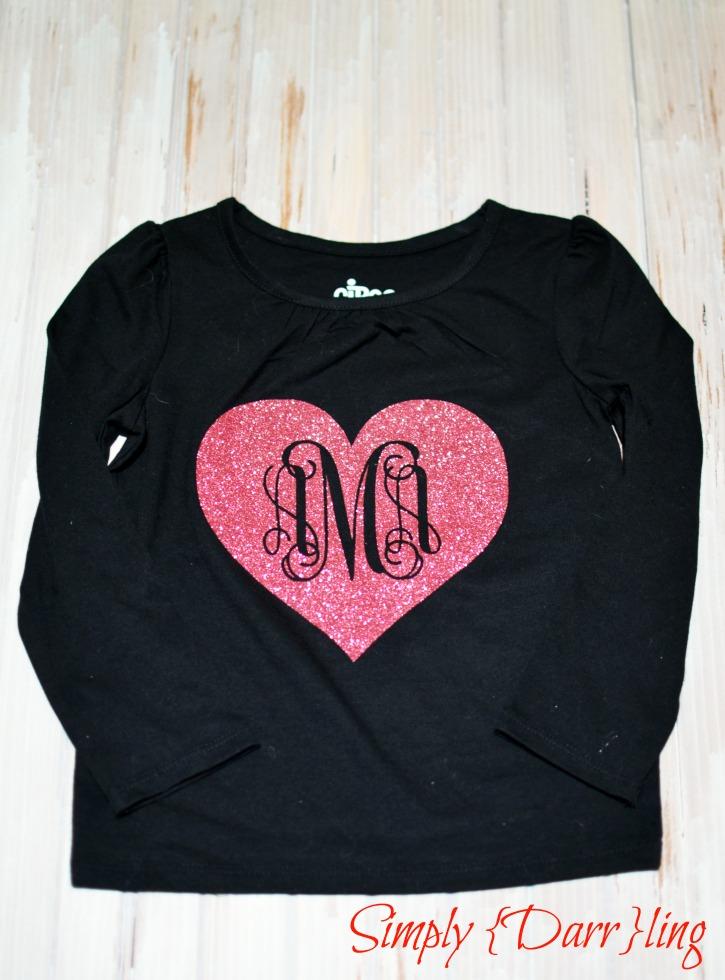 valentines day monogram tee