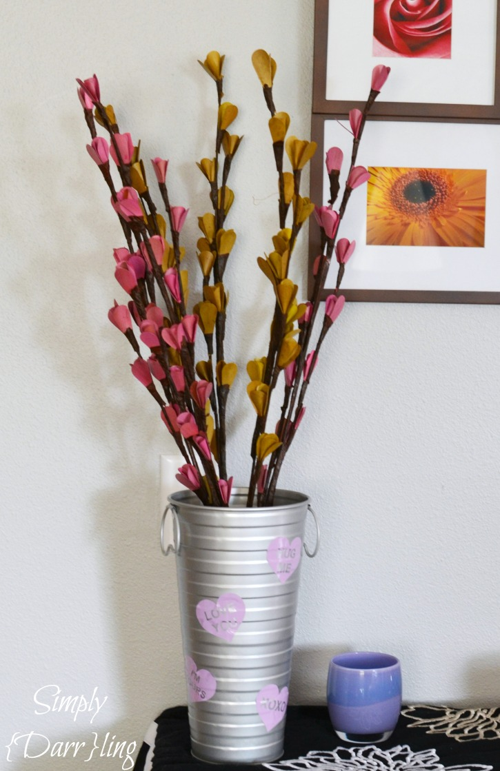 Valentines Day Vase and Wooden branches