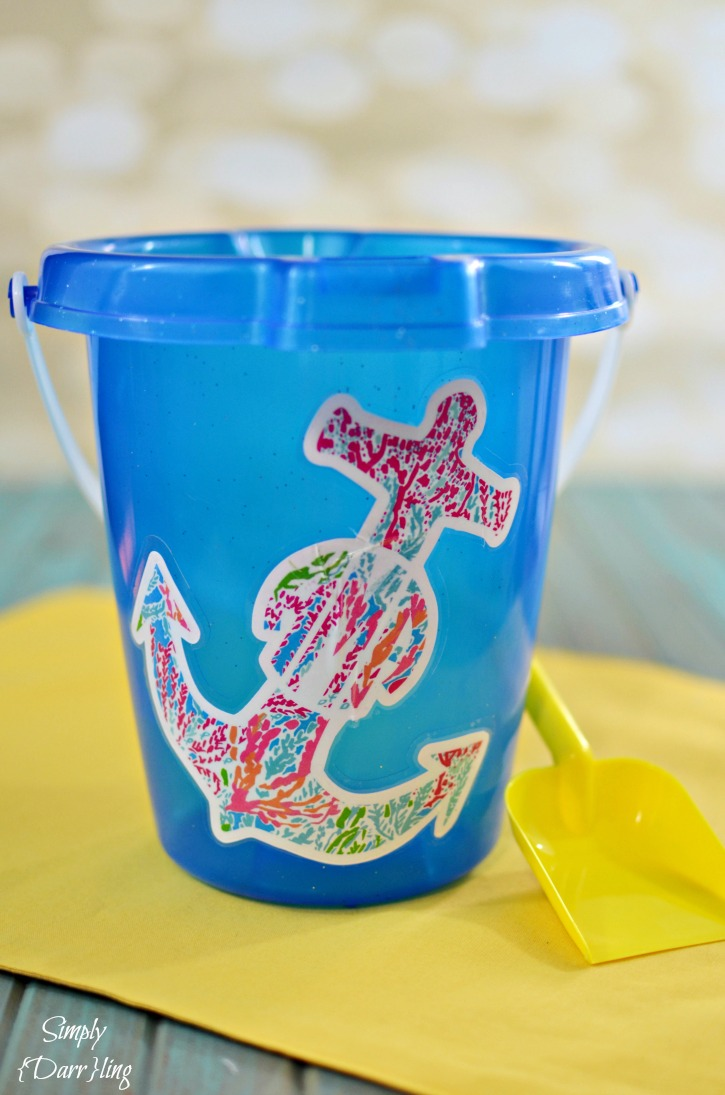 Lilly Pulitzer-Inspired Personalized Beach Pail. Tutorial from Simply Darrling