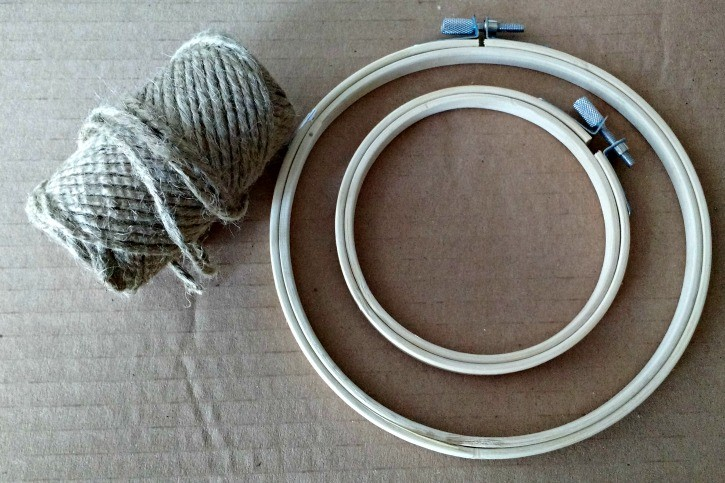 twine and embroidery hoop