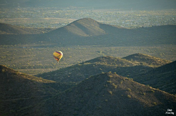 hot air balloon in the arizona desert
