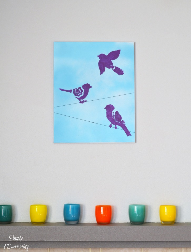 Birds Stenciled Onto Canvas