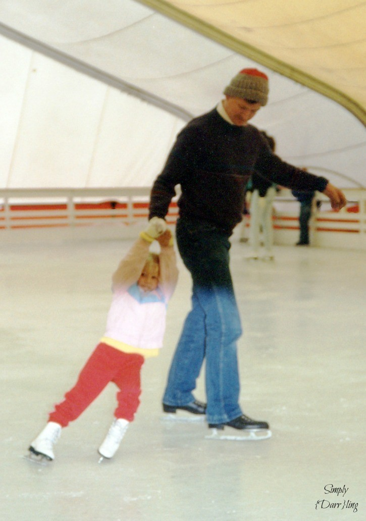 Dad and Daughter Ice Skating