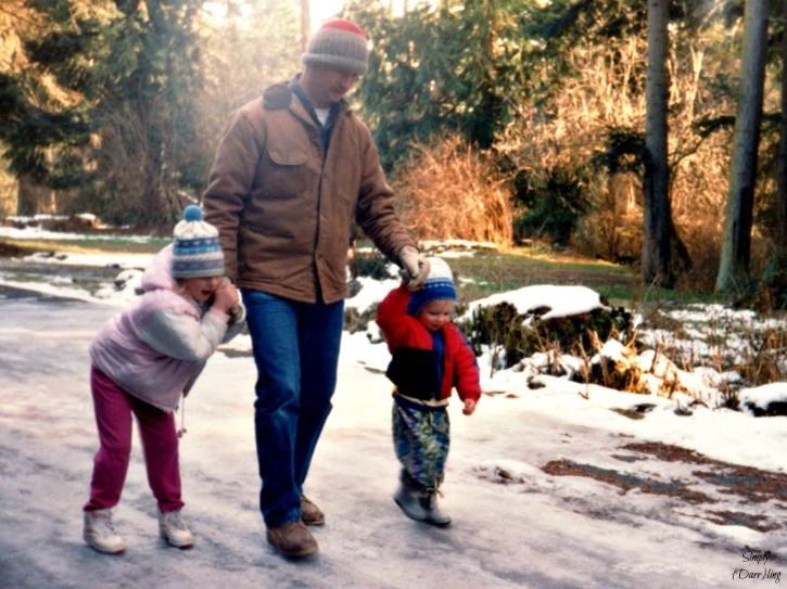 Dad and Kids walking on the ice