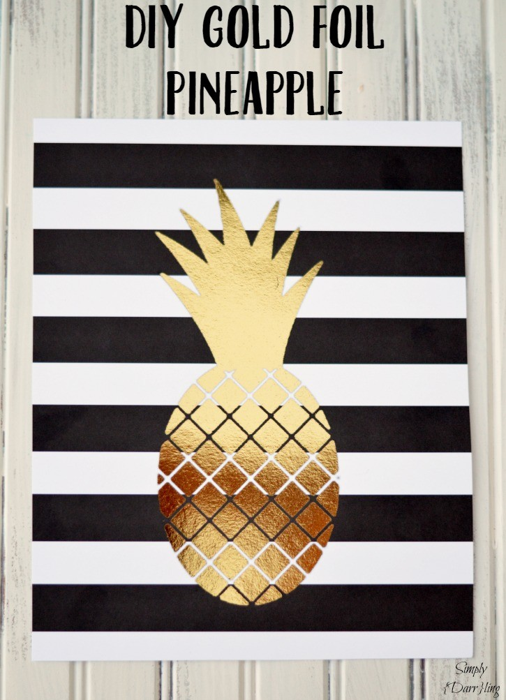 DIY Gold Foil Pineapple Print using a laser printer and toner reactive foil