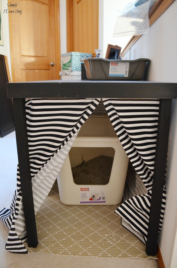 Hide the litter box with an IKEA LACK Table