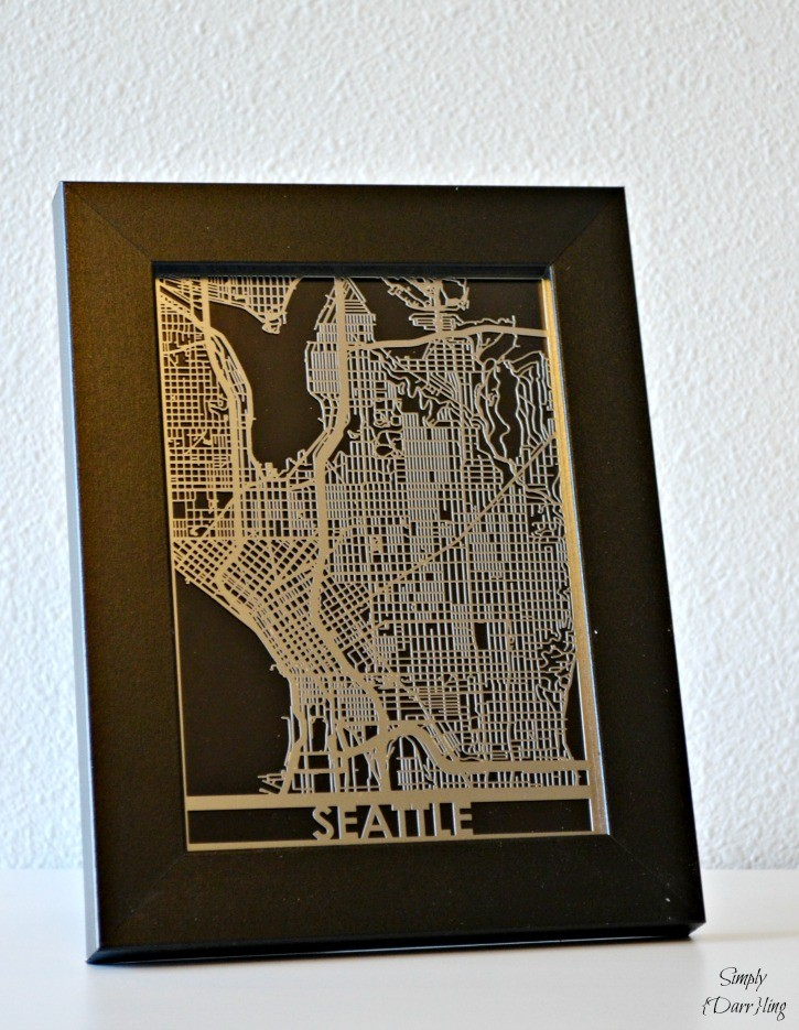 Metal Seattle Map in Frame - Part of a Travel Themed Nursery