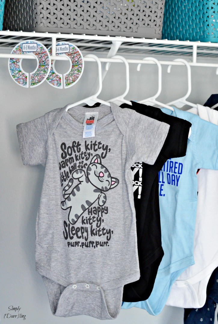 DIY Nursery closet dividers and big bang theory onesie