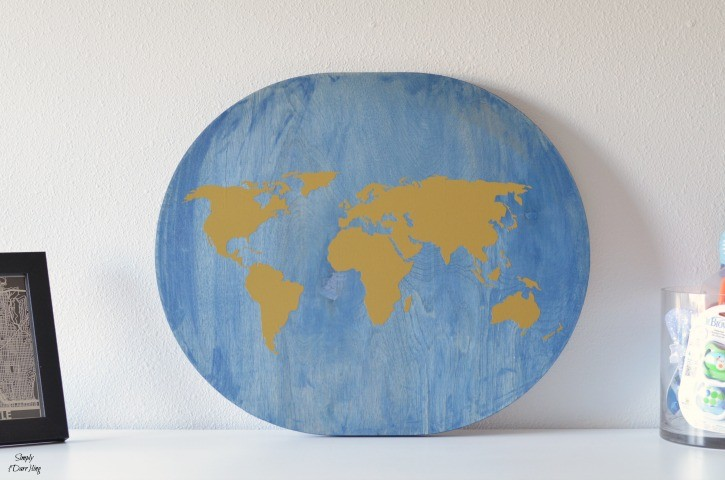 Wooden World map for a travel themed nursery