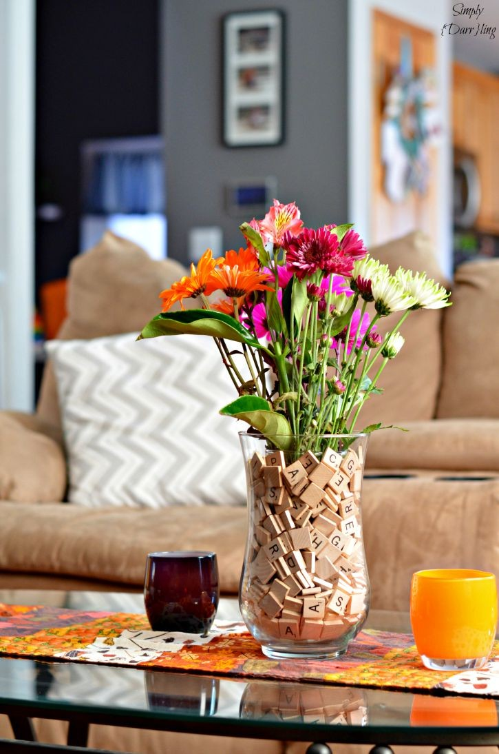 Scrabble Vase Centerpiece - perfect for year round decor
