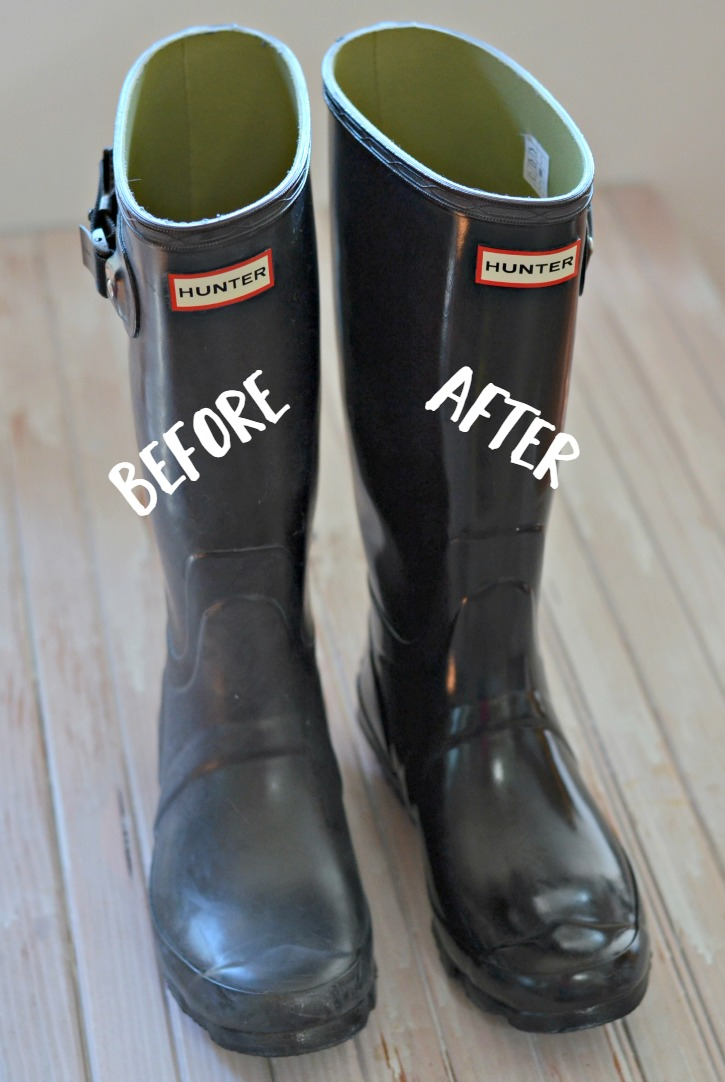 Before and After how to clean hunter rain boots