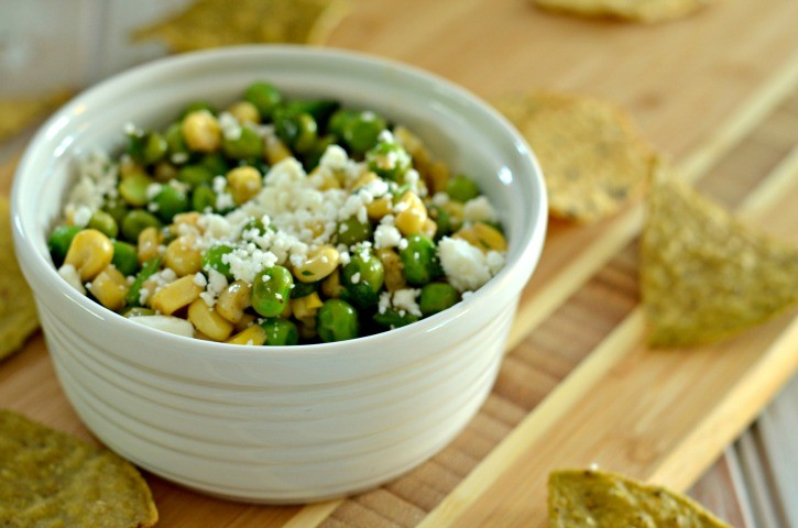 Football chip dip recipe featuring corn and peas