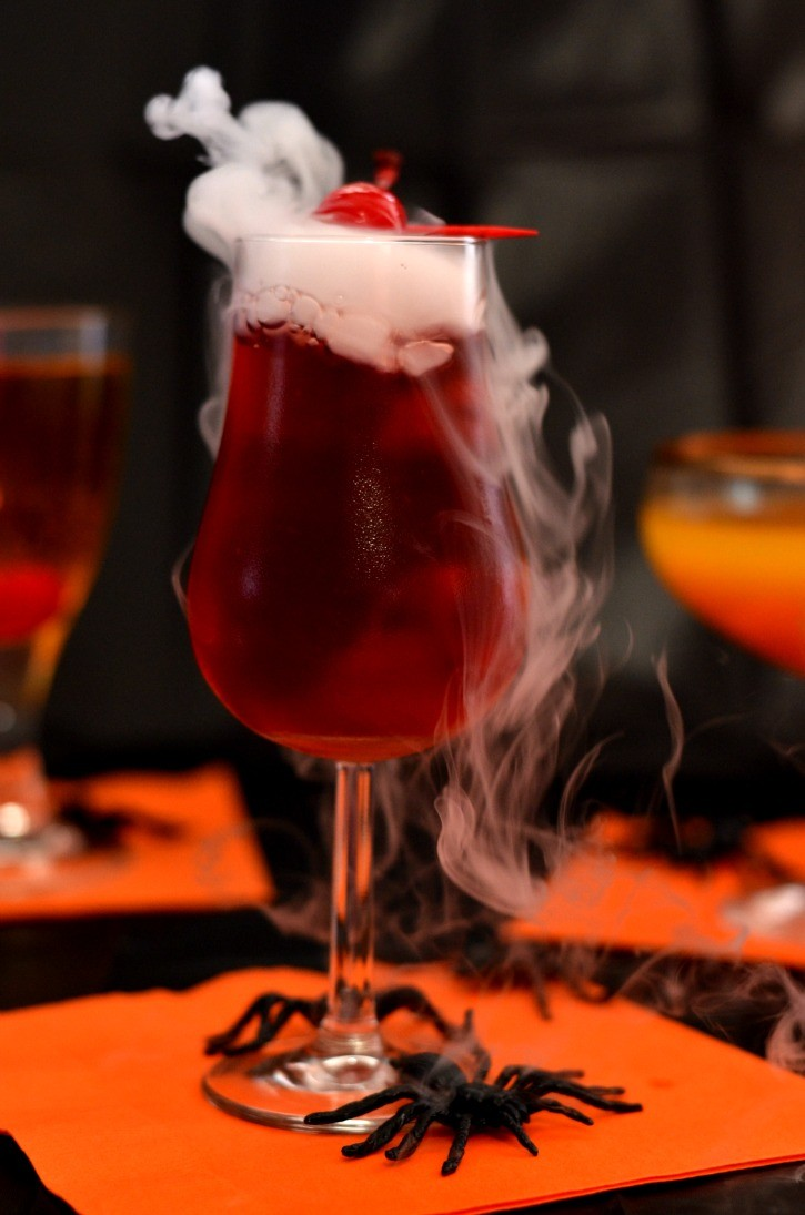Spooky Cranberry Vodka with Dry Ice