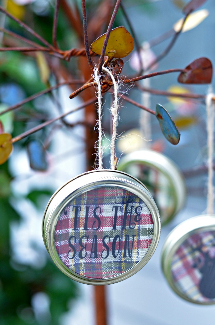 Tis the Season Mason Jar Lid Christmas Ornament