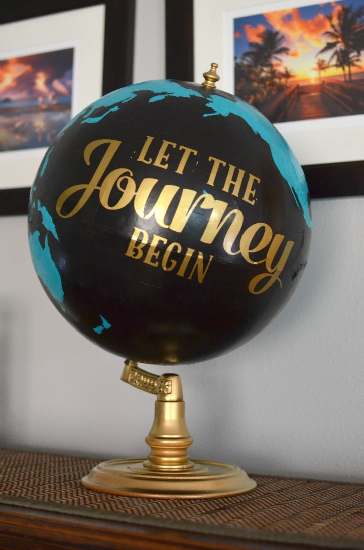 Upcycled Teal & Black Painted Globe for Gender Neutral Travel Themed Nursery