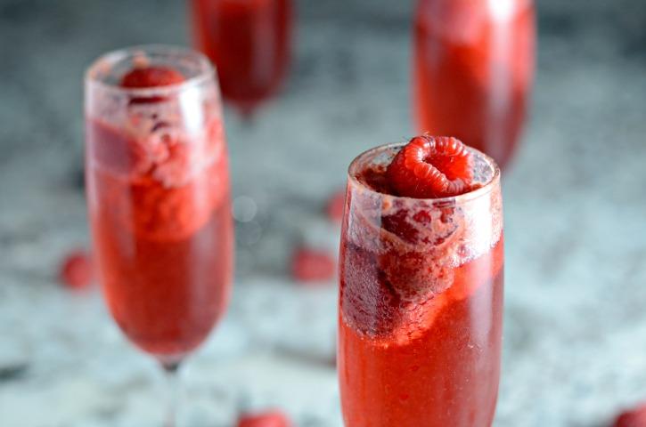 Raspberry Bellini in Champagne Flute