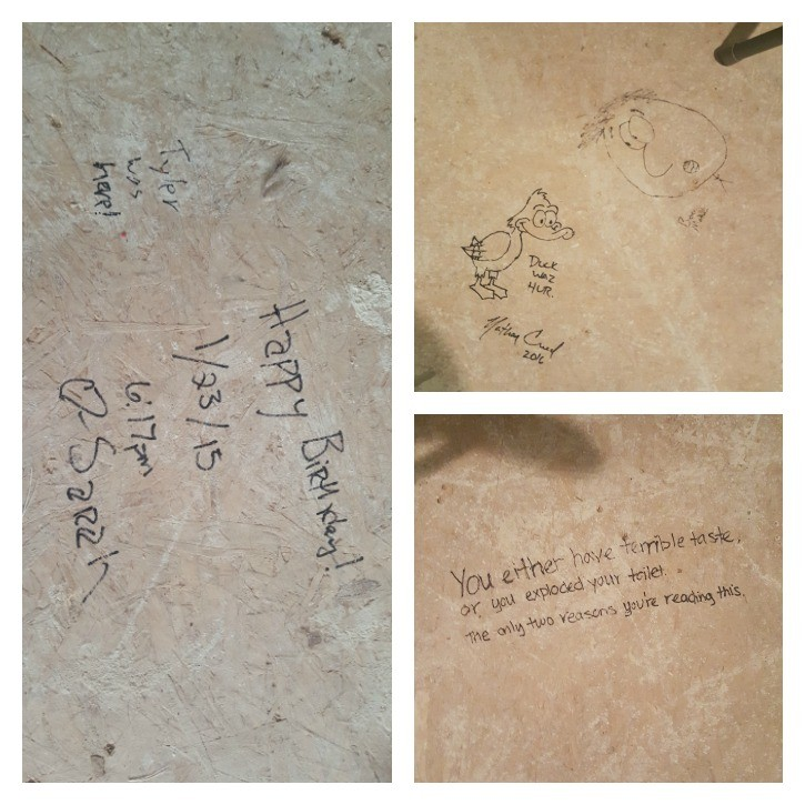 Drawings on the subfloor