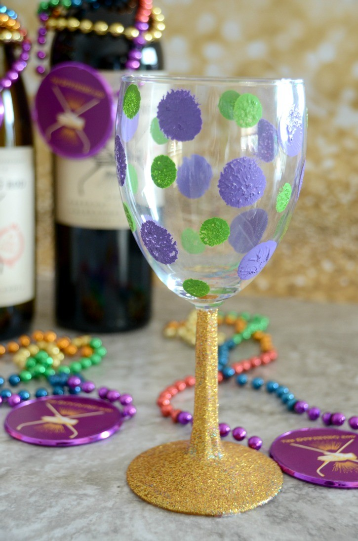 Hand Painted Mardi Gras WIne Glasses