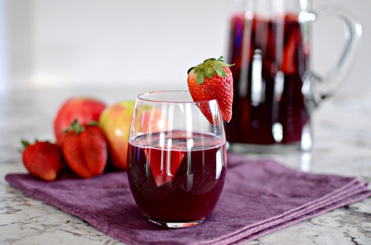Almond Tequila Sangria with Apples and Strawberries