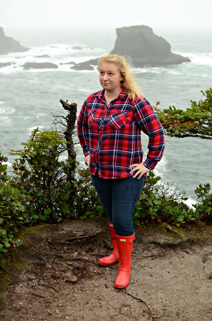 Red Hunter Rain Boot Flannel Outfit