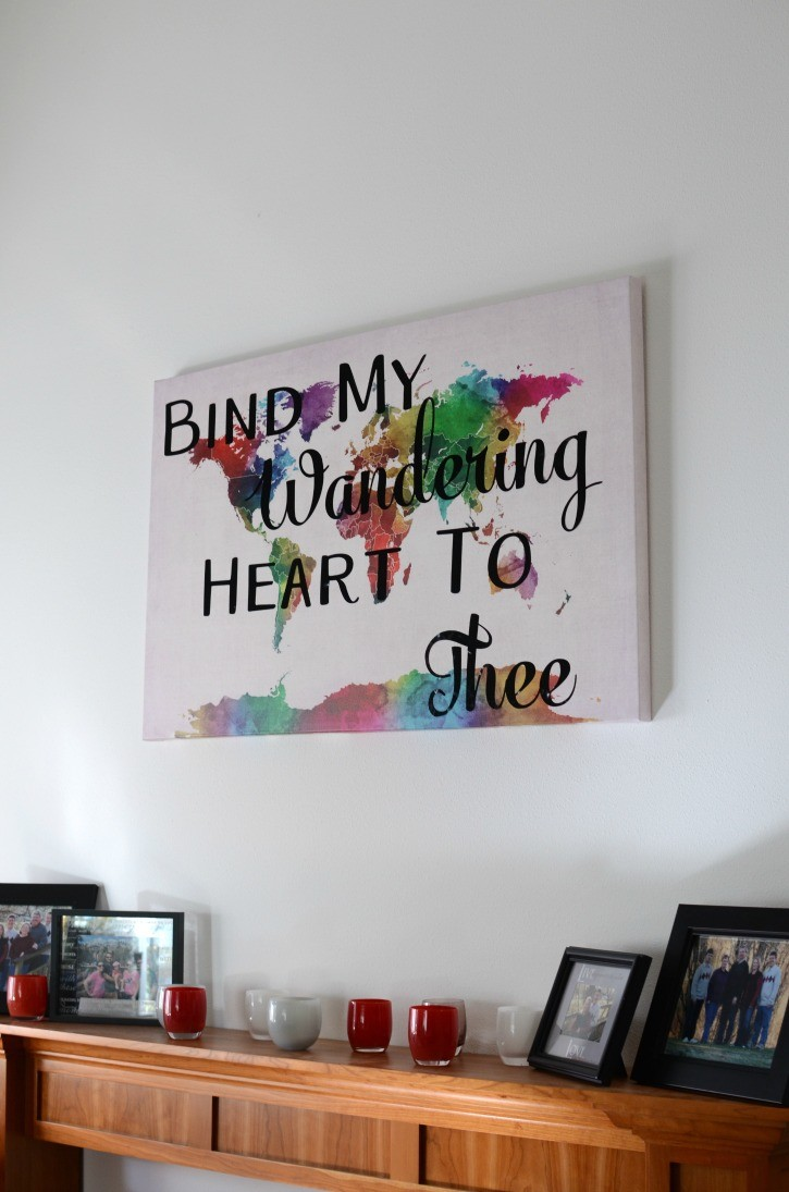 Bind My Wandering Heart To Thee Watercolor World Map Canvas