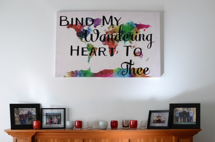 Easy diy world map with hymn quote simply darrling bind my wandering heart to thee watercolor world map canvas gumiabroncs Choice Image
