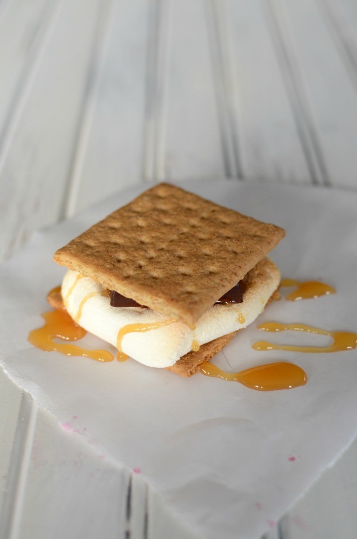 Gourmet s'more with chocolate and caramel