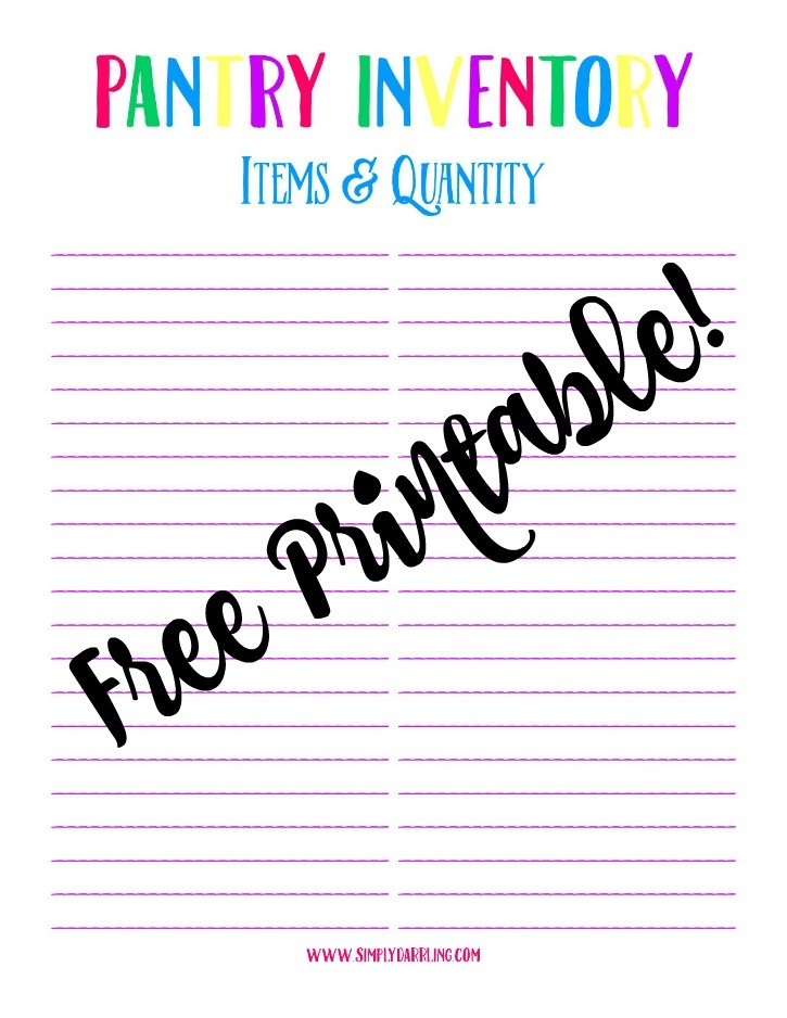 Free Pantry Inventory Printable