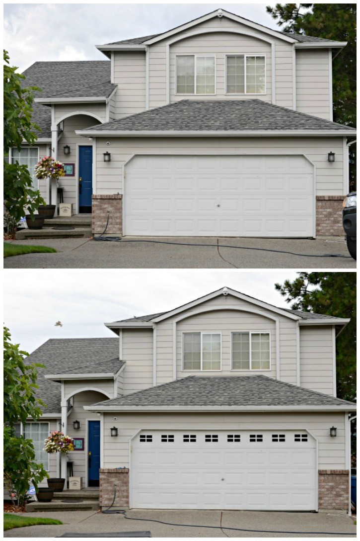 Before And After Of Faux Garage Door Windows