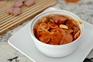 Pasta with Basil garlic marinara and apple sausage